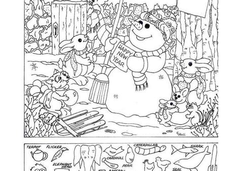 snowman hidden pictures printable topsy turvy land activities coloring pages poetry and
