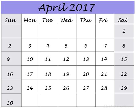 Personalized Calendar Template by April 2017 Customized Calendar Printable Monthly Calendars