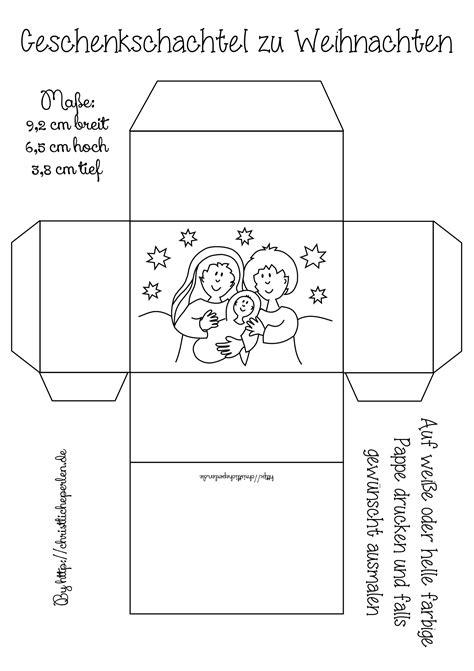Kostenlose Vorlage Geschenkbox geschenkschachteln zu weihnachten basteln christliche perlen