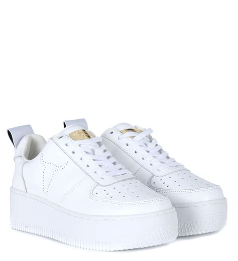 windsor smith sneaker windsor smith racerr in pelle bianca con platform