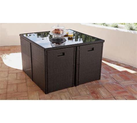buy cube rattan effect 4 seater patio set black at argos