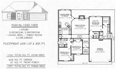 how many square feet is a 1 car garage under 1700 sq 3 bedroom house plans