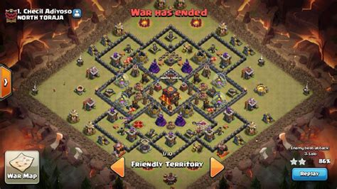 layout coc yang susah di tembus base war th 9 game coc dengan 1 bomb tower level 3 susah