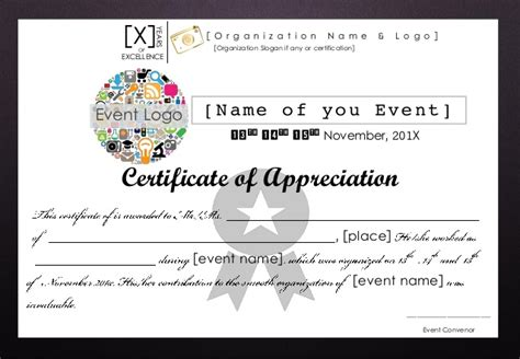appreciation letter event organizer certificate of appreciation editable format