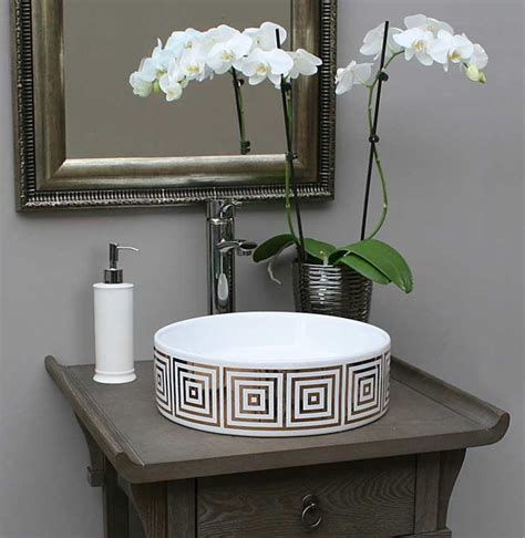 powder room sinks gold big squares hand painted sink in gray bathroom