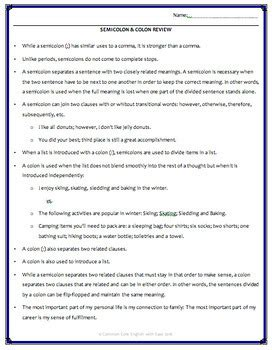 Semicolon And Colon Practice Worksheet by Semicolon Colon Usage Activities Worksheets Powerpoint