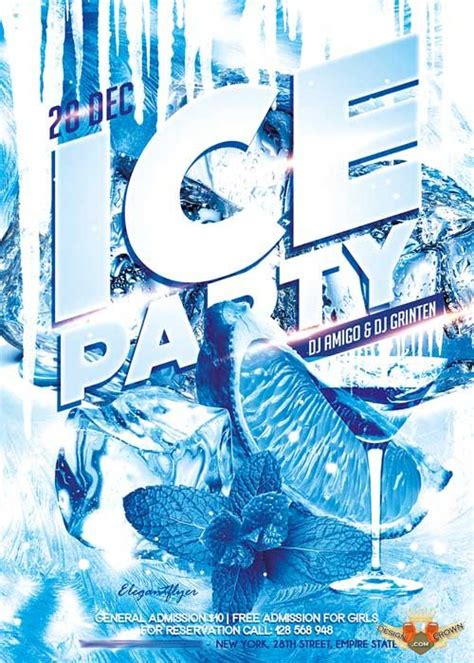 ice pattern psd ice party flyer psd template facebook cover