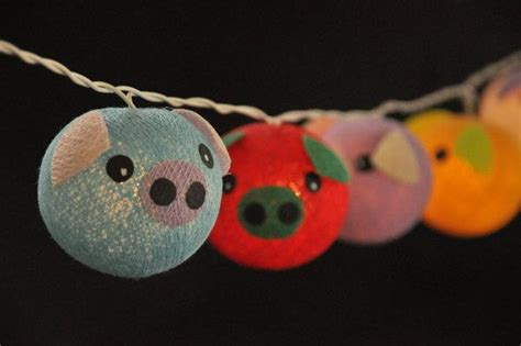 pig lights cotton string lights pig planet mixed colour for kid