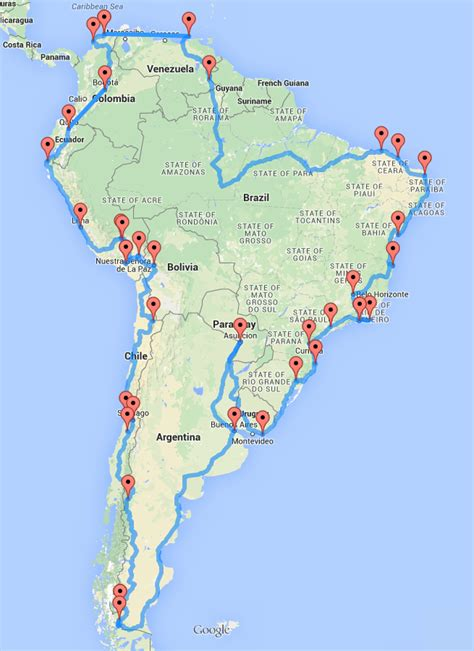 map of best us road trip computing the optimal road trip across south america dr