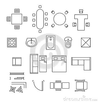 furniture icons for floor plans furniture linear vector symbols floor plan icons stock