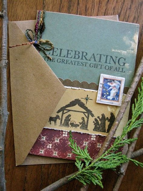 rustic nativity christmas card handmade merry christmas