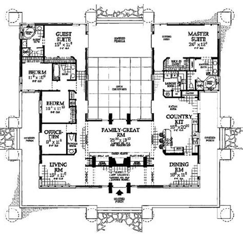 house plans with courtyard in middle modify for container home architecture pinterest