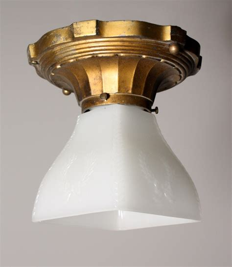 Vintage Light Fixtures For Sale Wonderful Antique Flush Mount Light Fixture With Glass Shade Nc981 For Sale Antiques