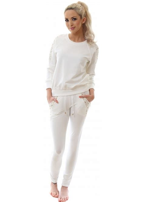giorgia white tracksuit skinny fit beaded tracksuit