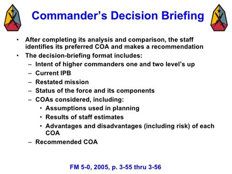 army briefing template decision process mar 08 3
