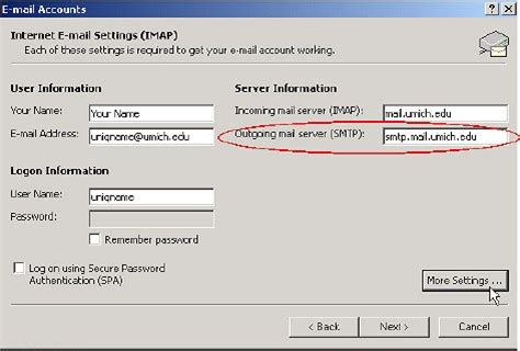 outgoing mail server email settings for authenticated smtp its documentation