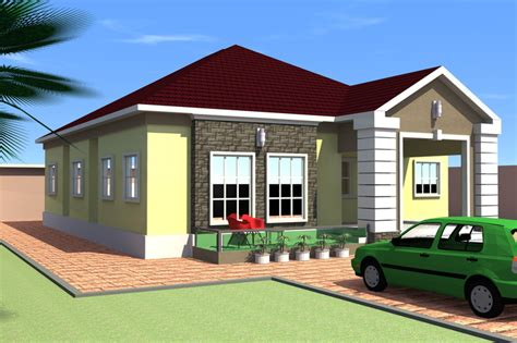 bungalow bedroom 4 bedroom bungalow 3d cad model grabcad
