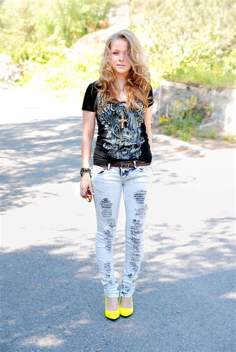 silver stars mikas black models picture kristiina lund silverstar t shirt bershka jeans neon