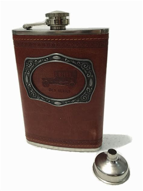 Stainless Steel Leather Cover Flask 9oz portable stainless steel hip flask flagon metal patch whiskey wine pot leather cover bottle