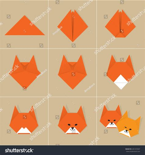 How Do You Make A Origami - step by step how to make origami fox stock