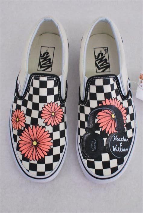 Painted Slip Ons custom painted checkerboard vans slip ons by