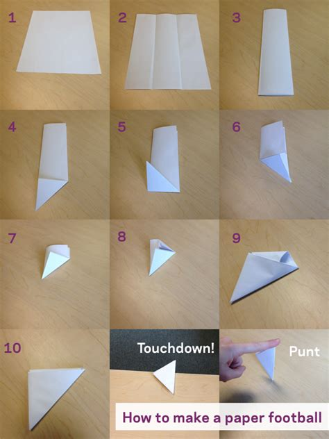 Paper Football Folding - get your family charged up for bowl 50