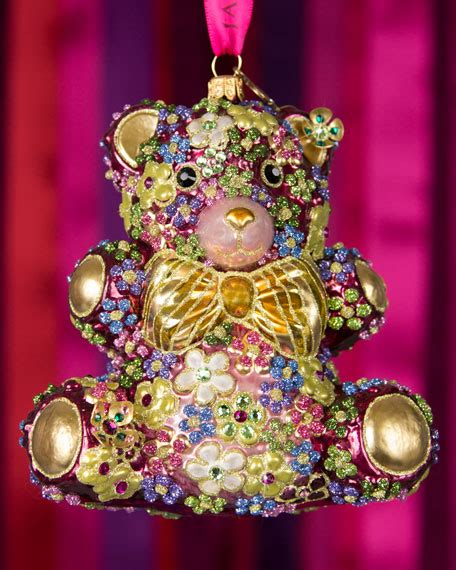 jay strongwater mille fiori teddy bear christmas ornament