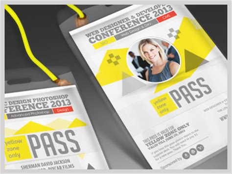 conference id card template conference expo corporate pass id badge by sherman