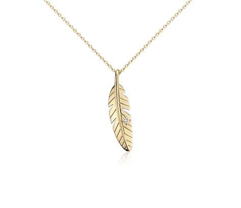 mini feather pendant in 14k yellow gold blue nile