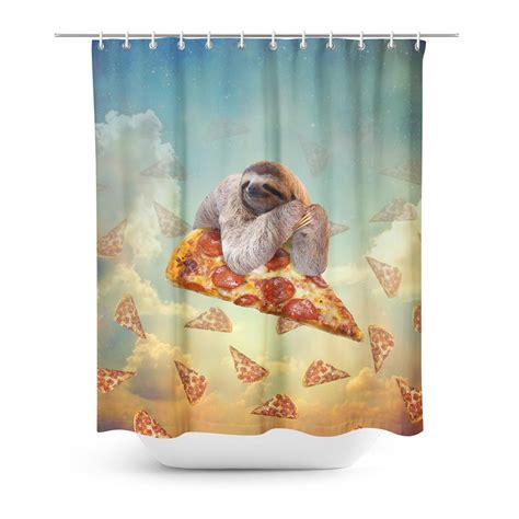 sloth shower curtain sloth pizza shower curtain shelfies all over print