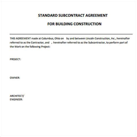 standard construction contract template construction agreement template word form pdf excel