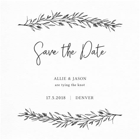 Wedding Font Corel by Save The Date Card With Branches Vector
