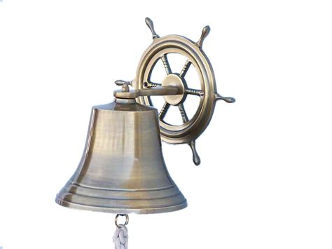buy antique brass hanging ship wheel bell 10 inch