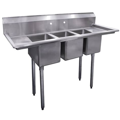 3 compartment sink with drainboards sauber 3 compartment stainless steel sink with two 10