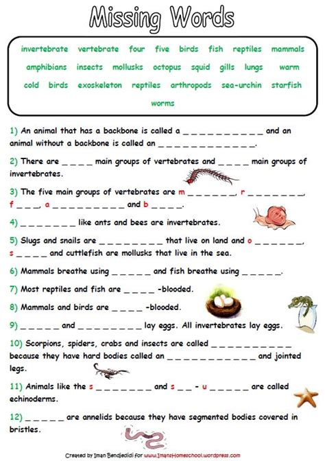 Animal Classification Worksheet by Animal Classification Activity Worksheets Iman S Home School