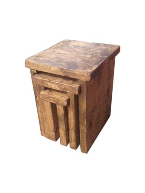 the rustic nest of tables ely rustic furniture