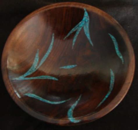 turquoise inlay black walnut bowl   rustic artistry