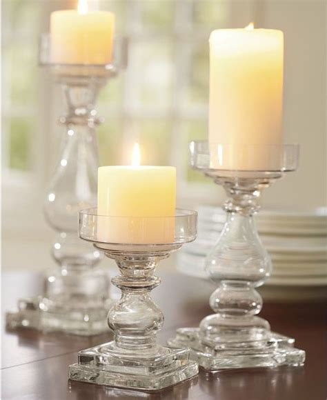 glass pillar candle holders clear glass square base pillar holders traditional by pottery barn