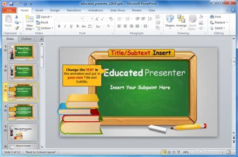 Animated Blackboard Template For Educational Powerpoint Presentations Free Powerpoint Templates Education