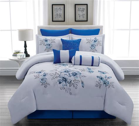 blue king size bedding sets embroidery floral comforter set bed in a bag king size