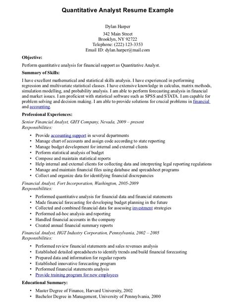 research analyst resume exle resume template 2017