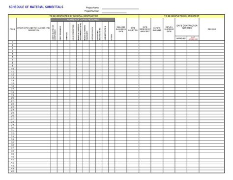 construction submittal form template 17 best images about construction spreadsheets forms on