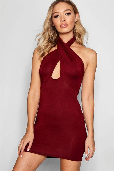Bodycon Dress boohoo womens tamzen halter neck wrap bodycon dress
