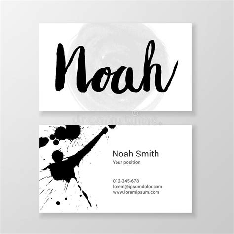 Handwritten Business Card Template by Brushed Letter Noah Name Written Business Card