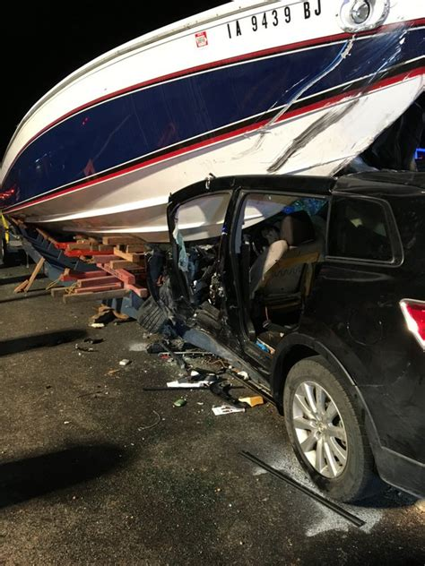 boat crash head on photo boat crashes head on into car on u s highway in