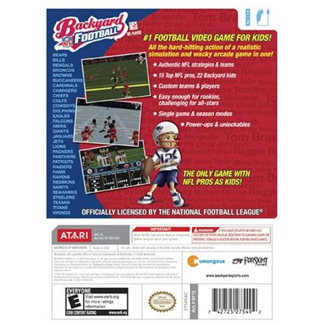 backyard football nintendo wii apparel accessories