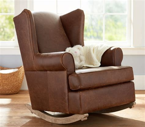 Leather Rocking Chairs For Nursery Leather Wingback Convertible Rocker Ottoman Pottery Barn
