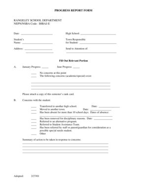 School Progress Report Template Forms Fillable