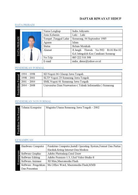 contoh format daftar riwayat hidup yang menarik 15 contoh daftar riwayat hidup download ben jobs