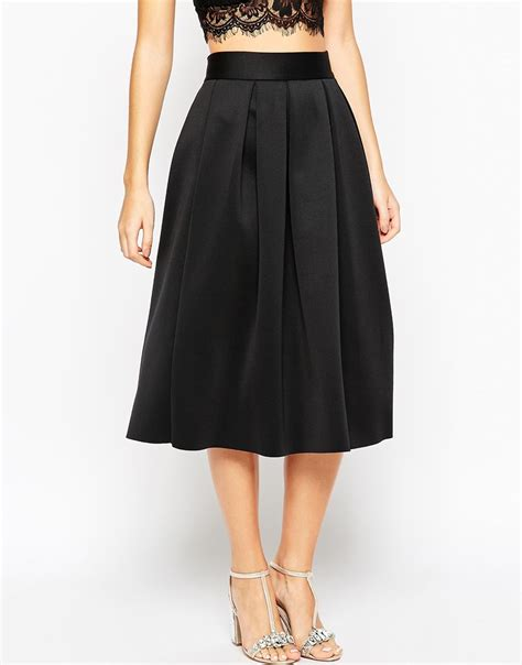 asos midi pleated prom skirt in scuba in blue lyst